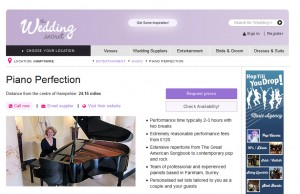Piano Perfection listing on Wedding Secret